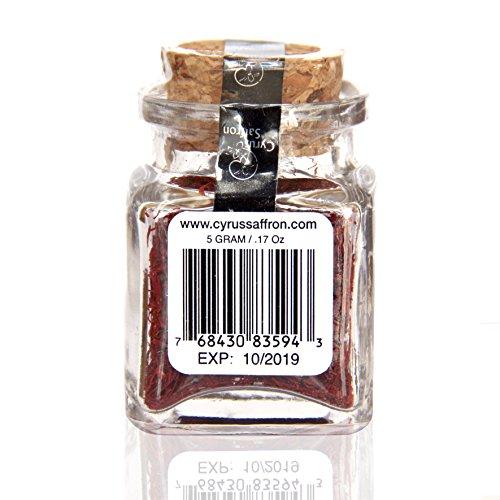Azafran Saffron Threads,100% Pure Premium Saffron Quality Stigmas (5 Gram Spanish) [SUPER NEGIN] NON-GMO, organically grown by Cyrus Saffron (Image #2)