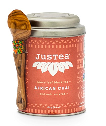 JusTea AFRICAN CHAI | Loose Leaf Black Tea with Hand Carved Tea Spoon | 40+ cups 4.1 Ounce Tin | Organic | Fair Trade | Non-GMO - African Tea