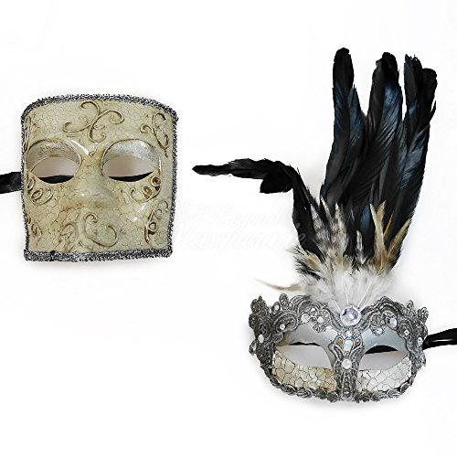 Beauty & the Beast Couple Venetian Masquerade Mardi Gras Costume Halloween Mask (Celebrity Couples Halloween Costumes)