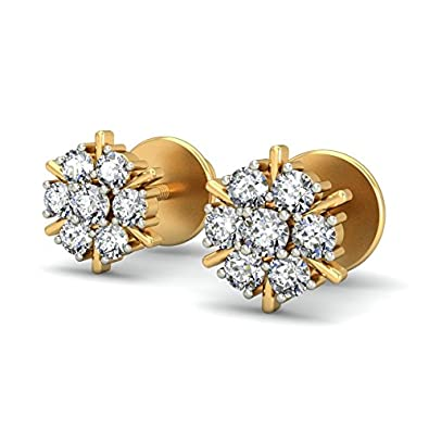 yellow cluster womens ct diamond stud gold flower earrings