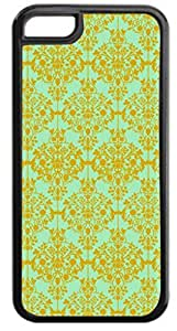 01-Floral Damask Pattern-Gold/Green Case for the APPLE IPHONE 6 ONLY!!!-NOT COMPATIBLE WITH THE IPHONE 6!!!-Hard Black Plastic Case with Soft Black Rubber Inner Lining