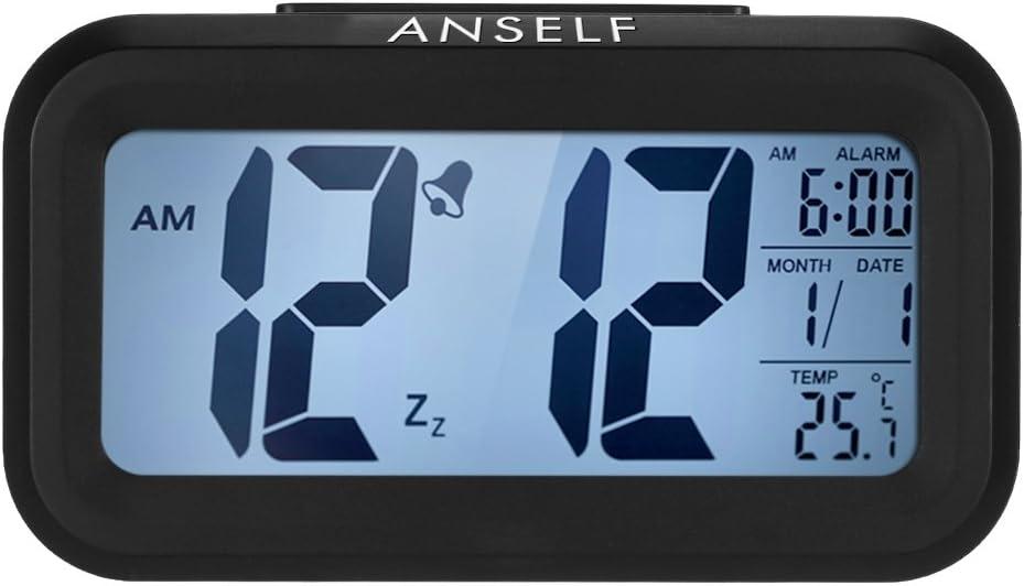 Despertador digital LED Anself con función repetición, sensor de luz, luz de fondo, indicación de hora, fecha y temperatura, plástico, negro, 4,5 cm l x 13,5 cm w x 7,8 cm h