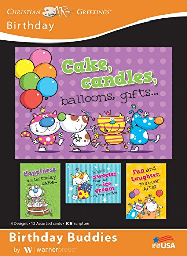 Birthday Buddies - Birthday Greeting Cards - ICB Scripture - (Box of 12)