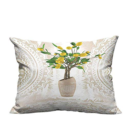 - alsohome Home DecorCushion Covers Traditi al Til Paisley Style Flowerpot Ceramic Vase P Tern Theme Decorative for Kids Adults 11x19.5 inch(Double-Sided Printing)
