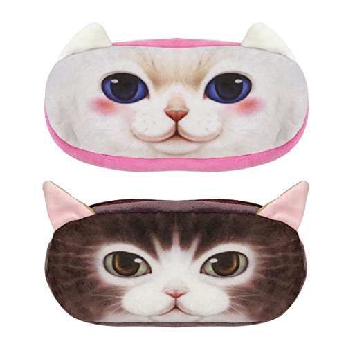 Wrapables Cat Face Zippered Pencil Case (Set of 2), Minx & Snowball]()