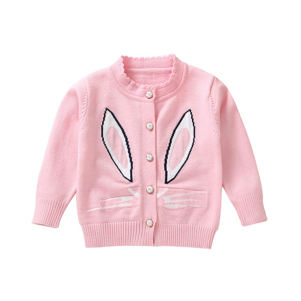 BOBORA Toddler Baby Girls Cute Rabbit Knitwear Infants Long Sleeve Autumn Winter Princess Knitted Cardigans for 0-4Years BO-UK1026