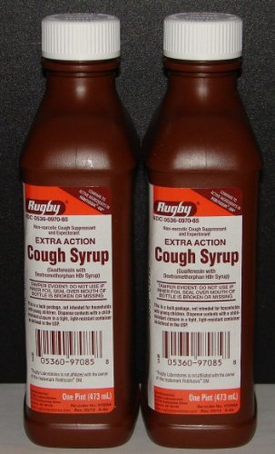 Rugby Extra Action Cough Syrup & Expectorant 16oz (Compare to Robitussin DM) - 2 Pack by Robitussin Dm