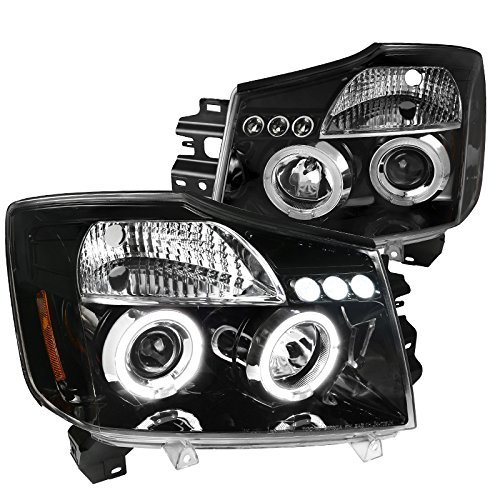 For Nissan Titan Armada Replacement Jet Black LED Halo Projector Headlights