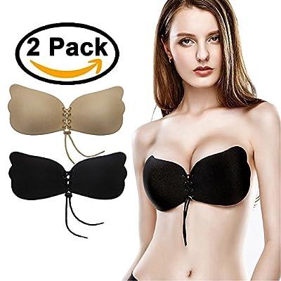 Kingoudoor Backless Strapless Bra Pushup Self Adhesive Bras for Women