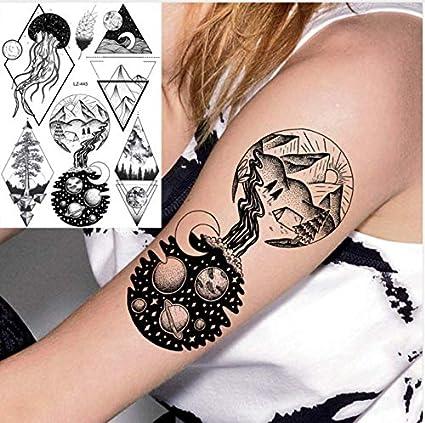 Geométrico Negro Galaxia Diamante Medusa Tatuaje Temporal Etiqueta ...