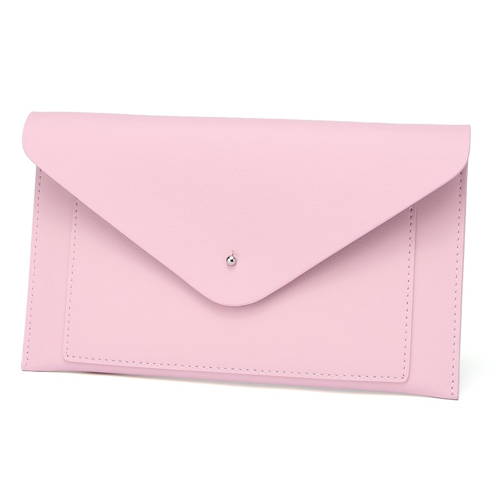 Womens Envelope Clutch Wallet Leather Card Phone Coin Holder Organizer, Pink