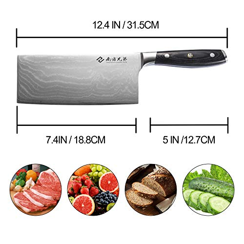 """Damascus Cleaver Knife, 7.2"""" Stainless Steel Chinese Chef Knives Vegetable Knife with Wooden Handle, Multipurpose Use for Kitchen or Restaurant by Nanfang Brothers (Image #2)"""