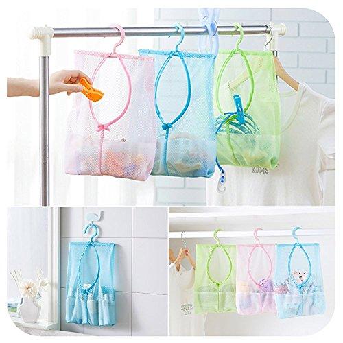 SwirlColor Packung mit 3 Multipurpose Clothespin Beutel mit Aufhänger, hängender Speicher-Netztasche für Haus über der Tür