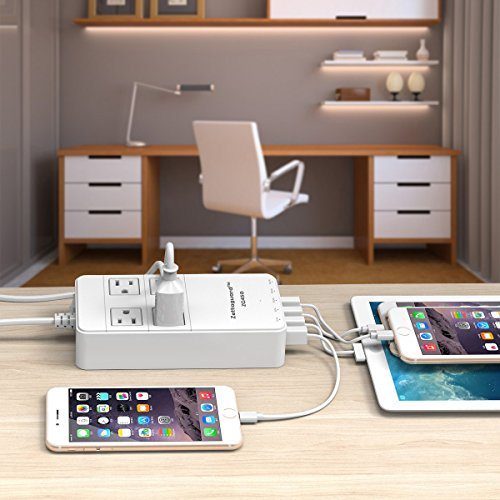 Zettaguard Mini 4-Outlet Travel Power Strip / Surge Protector with USB Charger, White (ZG450) by Zettaguard (Image #6)
