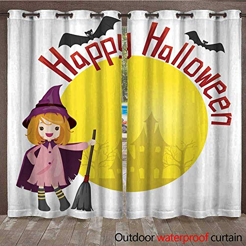 RenteriaDecor Outdoor Curtain for Patio Girl in Halloween Witch Costume W84 x -