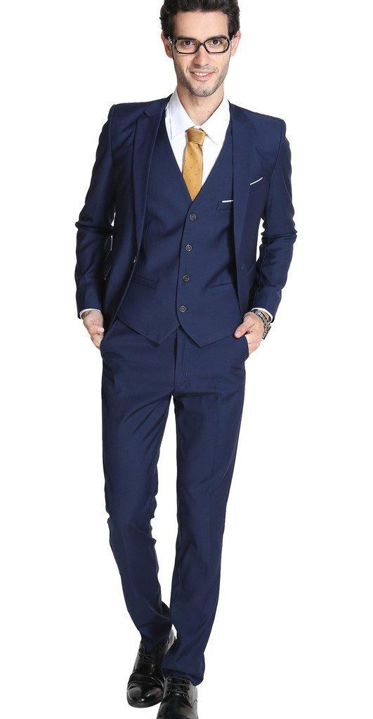 MOGU Mens Suits Slim Fit 3 Piece US Size 42 Navy
