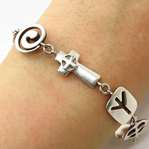 Signed 925 Sterling Silver Toggle Clasp Ancient Symbols Link Bracelet 7.5