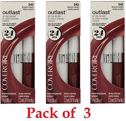 Covergirl Outlast Lipcolor, 542 Brazen Raisin (3 Pack) Brazen Raisin
