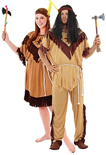 Couples Native American Indian Wild West Cowboy Halloween Carnival World Book Day Week Fancy Dress Costumes Outfits Standard and Plus Size (Ladies 18-22 - Mens Standard)