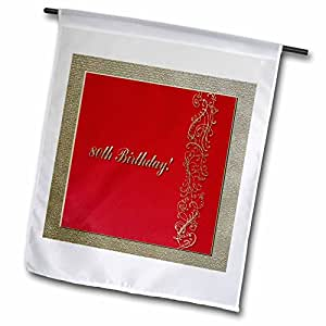 3dRose fl_32987_1 Garden Flag, 12 by 18-Inch, 80th Birthday Red and Gold Design