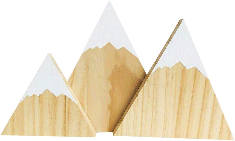 Baby Dusche Dekoration Kinderzimmer//Cradle nordischen Stil aus Holz Handgefertigte Handwerk Home Schlafzimmer//Party Wingbind Mountain Style Dreieck Geformte Bl/öcke Hochzeit//Geburtstag
