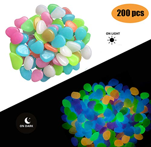 (Fashion Easy 200 Pack Colorful Glow in the Dark Garden Pebbles for Walkways/Outdoor Decor/Aquarium/Fish Tank, DIY Decorative Gravel Stones Ornaments, or Yard Outdoor Fish Tank in Colorful Color)