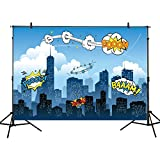 Funnytree 7x5ft photography backdrop superhero birthday party hero supergirl super city sky cloud building night baby shower children background prop photo studio photobooth