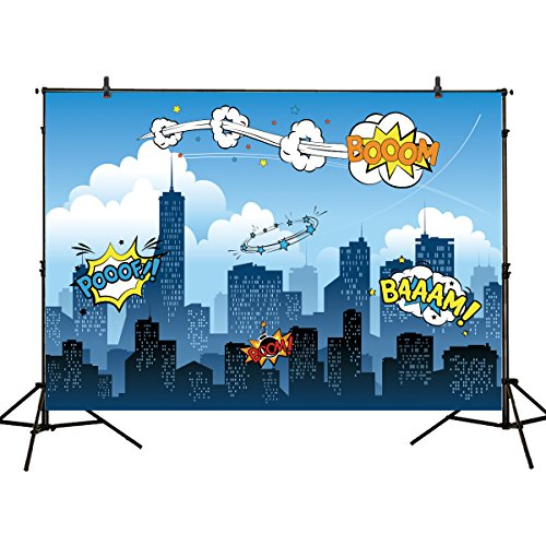 Funnytree 7x5ft photography backdrop superhero birthday party hero supergirl super city sky cloud building night baby shower children background prop photo studio photobooth for $<!--$26.99-->