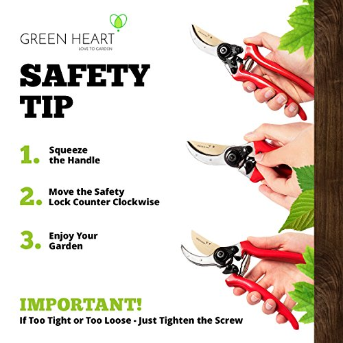 Professional Pruning Shears with Titanium Coated Blades - Lightweight Gardening Tools for Comfortable Use - Find Your Green Thumb with Rust Resistant Cutters That Stay Sharp Longer by Green Heart (Image #4)