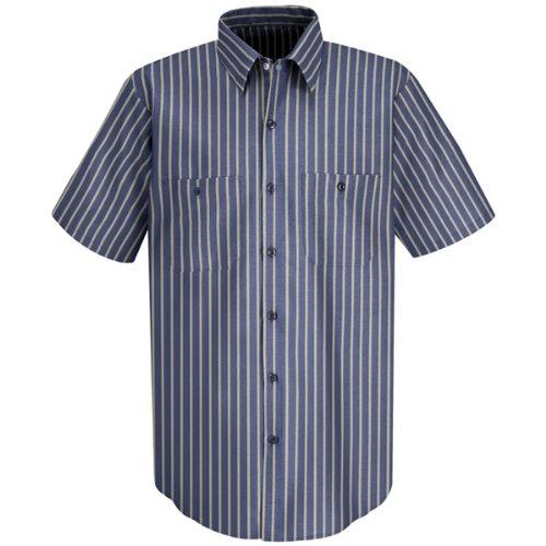 Red Kap Men's Performance Tech Shirt with Pencil Stall, Navy/Khaki Stripe, Short Sleeve Large (US Size) (US ()