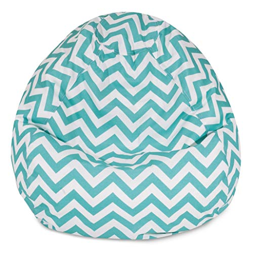 Majestic Home Goods Classic Bean Bag Chair - Chevron Giant Classic Bean Bags for Small Adults and Kids (28 x 28 x 22 Inches) (Teal Blue) (Stack Designer Chair)
