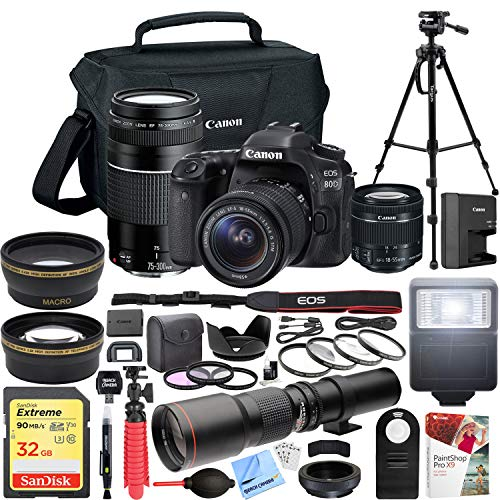 Canon EOS 80D Digital SLR Camera with EF-S 18-55mm f/3.5-5.6 + EF 75-300mm f/4-5.6 III Dual Lens Kit + 500mm Preset f/8 Telephoto Lens + 0.43x Wide Angle, 2.2X Pro ()