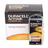60 x Size 312 / BROWN - DURACELL EasyTab Hearing Aid Batteries