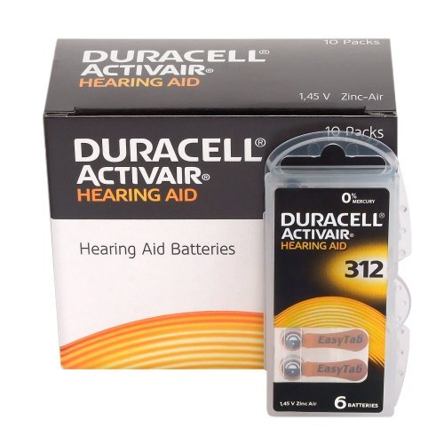 60 x Size 312 / BROWN - DURACELL EasyTab Hearing Aid Batteries (10 packs of six cells) by Duracell (Image #1)