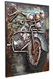 Asmork 3D Metal Art - 100% Handmade Metal Unique Wall Art - Stereograph Oil Painting - Home Decor - Ready to Hang Sculpture Artwork (Motorcycle (20 x 30 inch))