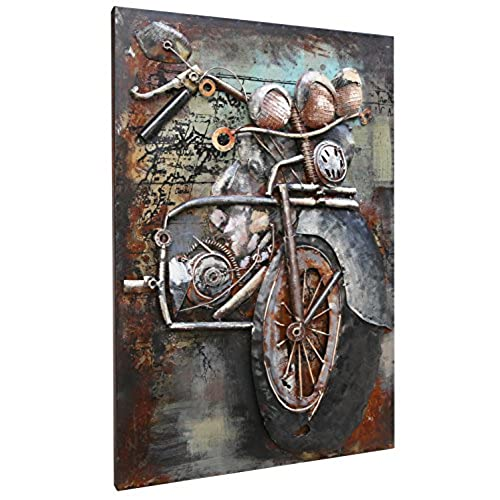 Asmork 3D Metal Art   100% Handmade Metal Unique Wall Art   Stereograph Oil  Painting   Home Decor   Ready To Hang Sculpture Artwork (Motorcycle (20 X  30 ...