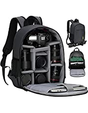TARION Camera Bag Professional Camera Backpack Camera Case with Laptop Compartment Waterproof Rain Cover for Women Men Photographer Lens Tripod Black TB-S