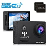Waterproof Action Camera WiFi By Funshare, underwater Sports Camera for Swimming, Cycling and Snorkelling, HD 1080P 14 Mega Pixels Resolution 170° Angle Lens Mountable Durable Batteries (Black)