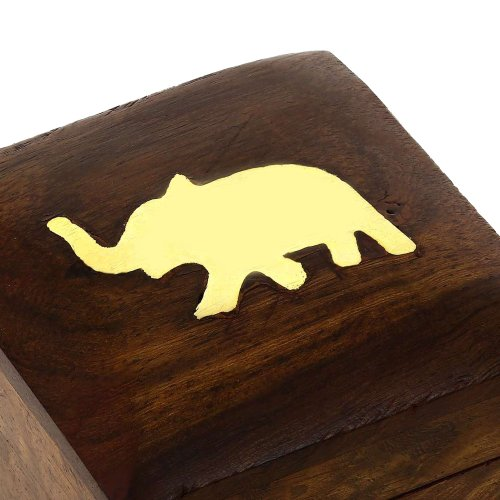 Elephant Charm Wooden Jewelry Box for Rings, Gift for Her, 2x2x1.5 Inches