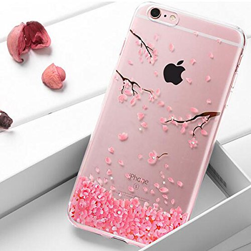 iPhone 6 Case EMAXELER Clear Ultra Thin Internal Diamond TPU Gel Shock Absorbing Scratch Resistant Frame Cover Silicone Skin Case for iPhone 6S 4.7 inch Pink Cherry Blossoms