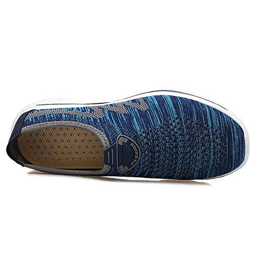 Scurtain Mens Casual Traspirante Slip On Mesh Maglia Sneakers Comfort Scavato Scarpe Da Passeggio Blu Scuro
