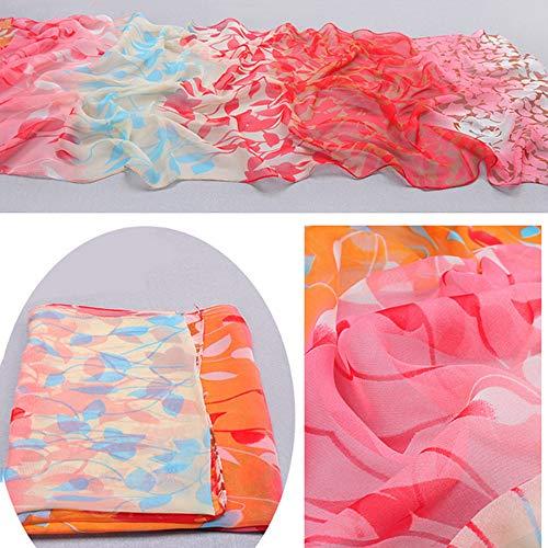(HYIRI Women's Design Printed Silk Soft Silk Chiffon Shawl Wrap Wraps Scarf Scarves OR Colorful)