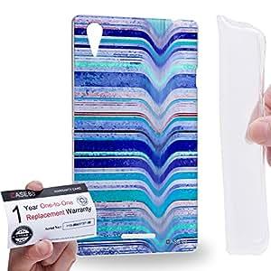 Case88 [Sony Xperia T3 D5103/D5106/D5102] Gel TPU Carcasa/Funda & Tarjeta de garantía - Art Fashion Blue Melting Stripes Art0795