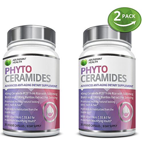 Phytoceramides Supplement - Biotin Dietary Supplement for Healthy Skin, Hair & Nails - 30 Veggie Capsules includes Vitamins A, C, D3, E plus & Bamboo Silica Anti Wrinkle Softgels - 2 Bottle Bundle