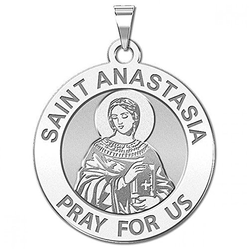 Saint Anastasia Round Religious Medal - Oval - 2/3 Inch X 2/3 Inch Size of Dime, Sterling Silver