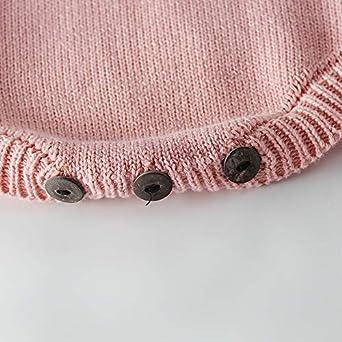 Pinleck Newborn Baby Girls Knit Fleece Sweet Heart Romper Ruffle Jumpsuit Bodysuit