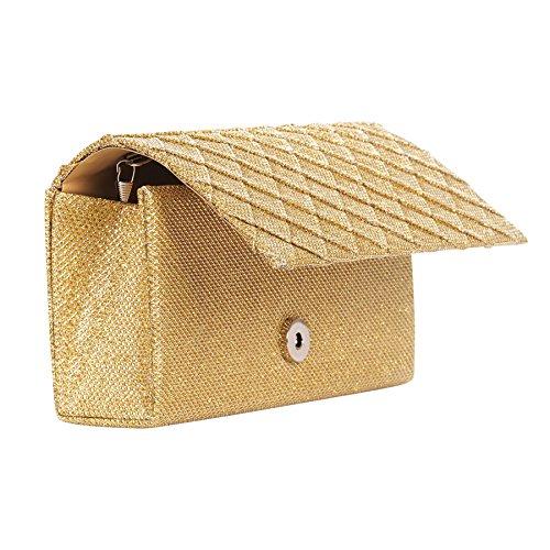 Pochette mariage brillante dorée rabat losange - Pochette soirée - Sac à main