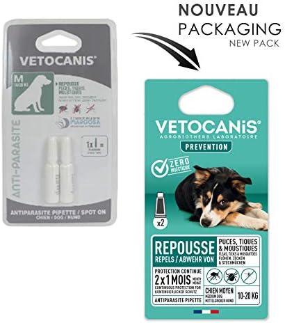 Vétocanis - Pipette Preventis Solution Répulsive Antiparasitaire - 2 Mois sans Tiques, Puces et Moustiques - Chien Moyen 10 à 20 kg - Margosa Répulsif Naturel - X2