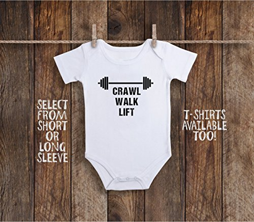 Funny Crawl Walk Ride Lift Baby Bodysuit For Workout Weightlifting Gym Buddy, Barbels Lifting