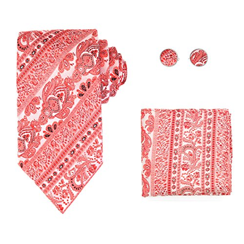 Y&G H8003 Crimson Patterned Beautiful Woven Silk Tie Cufflink Hanky Set Gift Idea For World Wide 3PT (Silk Vest Crimson)
